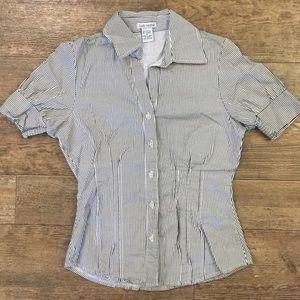 Black/white striped button-front blouse